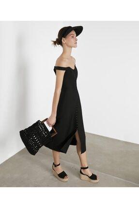 İpekyol Kadın Siyah Geniş Yaka Elbise IS1200002372001 3
