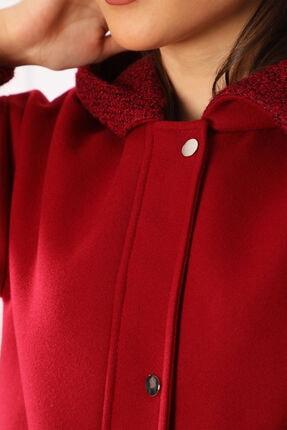 nobisis Kadın Kırmızı Çıtçıt Fermuarlı Kapüşonlu Kaban 1