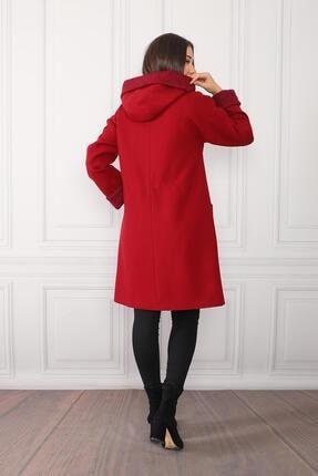 nobisis Kadın Kırmızı Çıtçıt Fermuarlı Kapüşonlu Kaban 3
