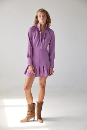 Urban Muse Dik Yaka Volanlı Pembe Mini Elbise 2