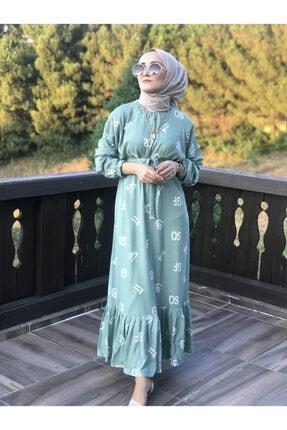 AYSUN AYDEMİR Kadın Yeşil Harf Desenli Elbise 1