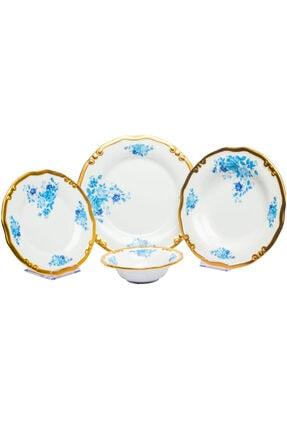 LEONARTE CASA Derya Home Lotus Mavi 24 Parça El Yapımı Porselen Yemek Takımı 0