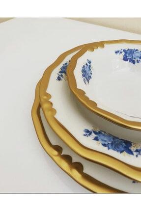 LEONARTE CASA Derya Home Lotus Mavi 24 Parça El Yapımı Porselen Yemek Takımı 2