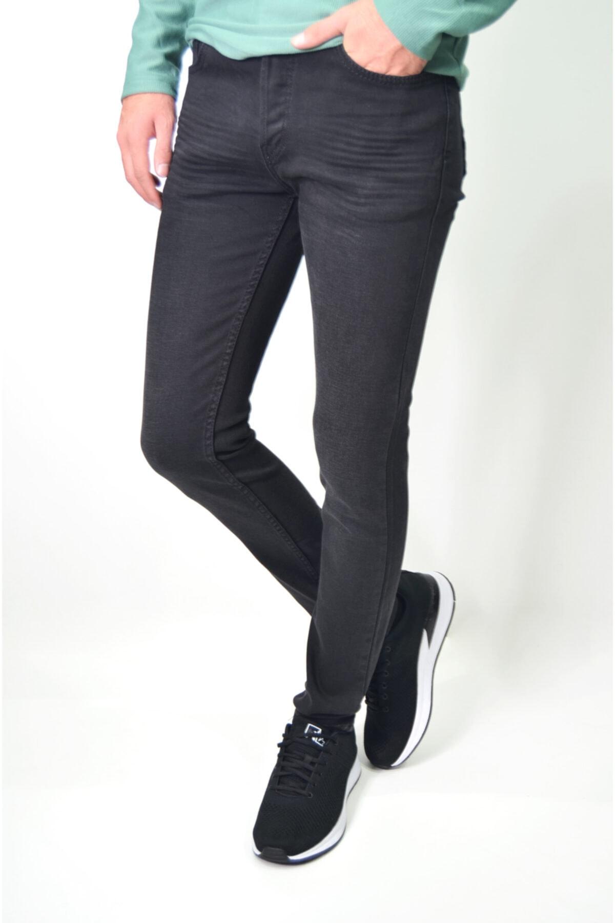 Erkek Siyah Likralı Hafif Çizgili Hafif Taşlamalı Kot Pantolon