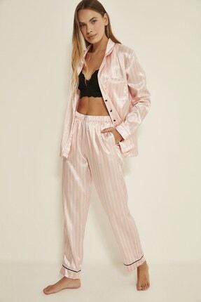C&City Ruby Bristol Kadın Saten Pijama Alt Pembe/ekru 1