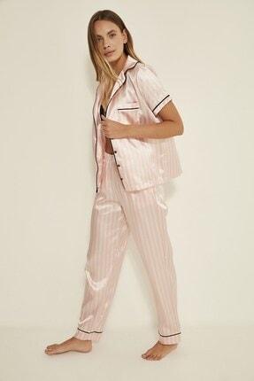 C&City Ruby Bristol Kadın Saten Pijama Alt Pembe/ekru 2