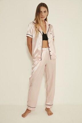 C&City Ruby Bristol Kadın Saten Pijama Alt Pembe/ekru 3