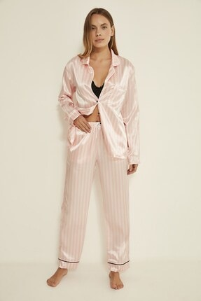 C&City Ruby Bristol Kadın Saten Pijama Alt Pembe/ekru 4