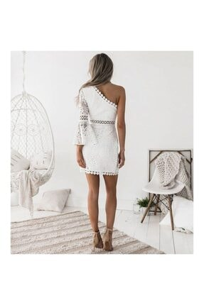 FASHION COCKTAIL Kadın Beyaz Tek Kollu Dantel Romantik Elbise 1