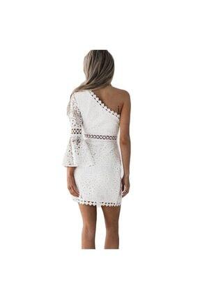 FASHION COCKTAIL Kadın Beyaz Tek Kollu Dantel Romantik Elbise 2