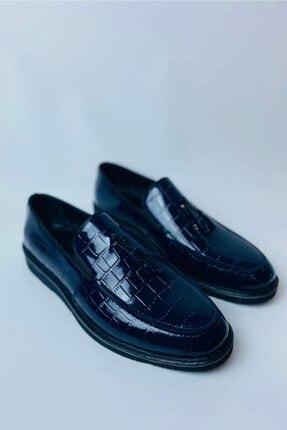 LA PANTE Erkek Lacivert Hakiki Deri Rugan Casual Ayakkabı 1