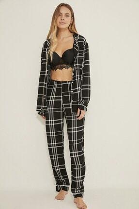 C&City Georgia Sparks Kadın Ekoseli Dokuma Pijama Altı Siyah/beyaz 0