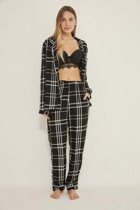 C&City Georgia Sparks Kadın Ekoseli Dokuma Pijama Altı Siyah/beyaz 2