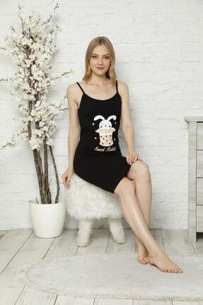 Tena Moda Kadın Siyah Ip Askılı Tavşan Baskılı Gecelik Pijama 1