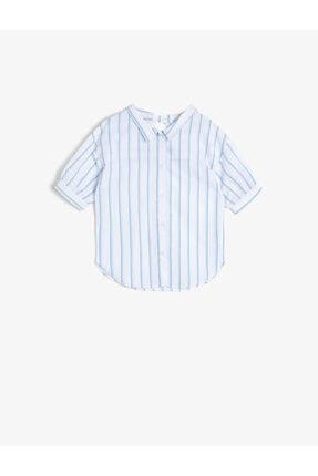 Koton Kız Çocuk Mavi Çizgili Poplin Kumaş Sırt Detaylı Bol Kesim Kısa Kollu Gömlek 0