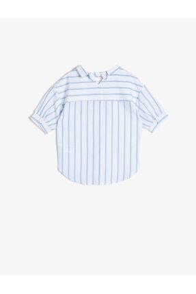 Koton Kız Çocuk Mavi Çizgili Poplin Kumaş Sırt Detaylı Bol Kesim Kısa Kollu Gömlek 1
