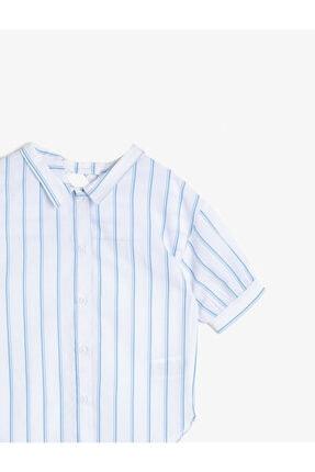Koton Kız Çocuk Mavi Çizgili Poplin Kumaş Sırt Detaylı Bol Kesim Kısa Kollu Gömlek 2