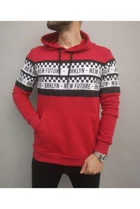 İnsane Minds Erkek Kırmızı Brooklyn Future Baskılı Kapşonlu Sweatshirt 1