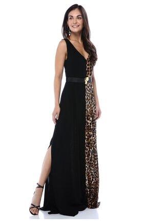 AYSL BUTİK Kadın Siyah Bir Tarafı  Desenli Kendinden Kemerli Yırtmaçlı Elbise 0