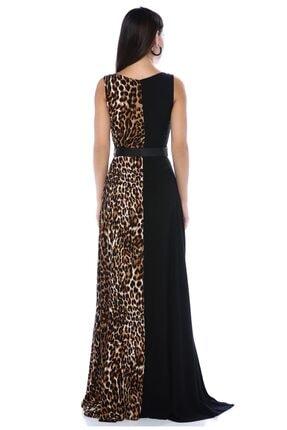 AYSL BUTİK Kadın Siyah Bir Tarafı  Desenli Kendinden Kemerli Yırtmaçlı Elbise 1