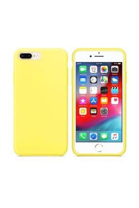 Zengin Çarşım Apple Iphone 7 Plus 8 Plus Içi Kadife Lansman Silikon Sarı Kılıf 0