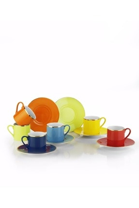Kütahya Porselen Rüya Renkli Kahve Fincan Takımı 1