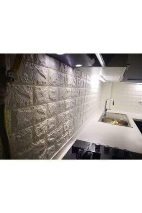 Renkli Duvarlar Mutfak Tezgah Arası Tuğla Kendinden Yapışkanlı Panel 3