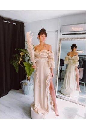 HERMANAS Kadın Bej Fırfırlı Dantel Detaylı Yan Yırtmaçlı Tasarım Elbise 0