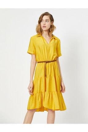 Koton Kadın Sarı Kemer Detayli V Yaka Kisa Kollu Midi Elbise 1