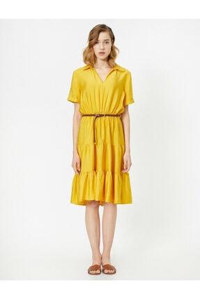 Koton Kadın Sarı Kemer Detayli V Yaka Kisa Kollu Midi Elbise 2