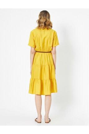 Koton Kadın Sarı Kemer Detayli V Yaka Kisa Kollu Midi Elbise 3