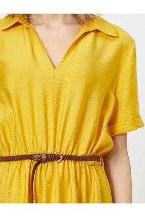 Koton Kadın Sarı Kemer Detayli V Yaka Kisa Kollu Midi Elbise 4