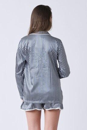 C&City Kadın Lacivert Beyaz Yakalı Long Line Gömlek 1