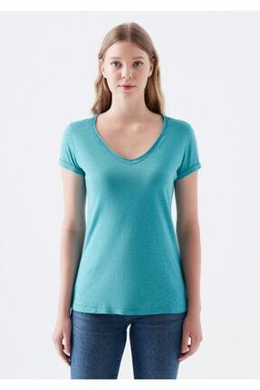Mavi V Yaka Yeşil Tişört 2