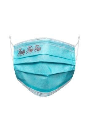 Parris Yılbaşı Kırmızı Happy New Year Baskılı Mavi Filtreli 3 Katlı 10'lu Kutu Telli Cerrahi Maske 0