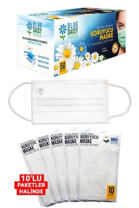 BlueDaisyMask Meltblown Filtreli Cerrahi 3 Katlı Telli Kokusuz Beyaz 50'li Kutu Maske 2