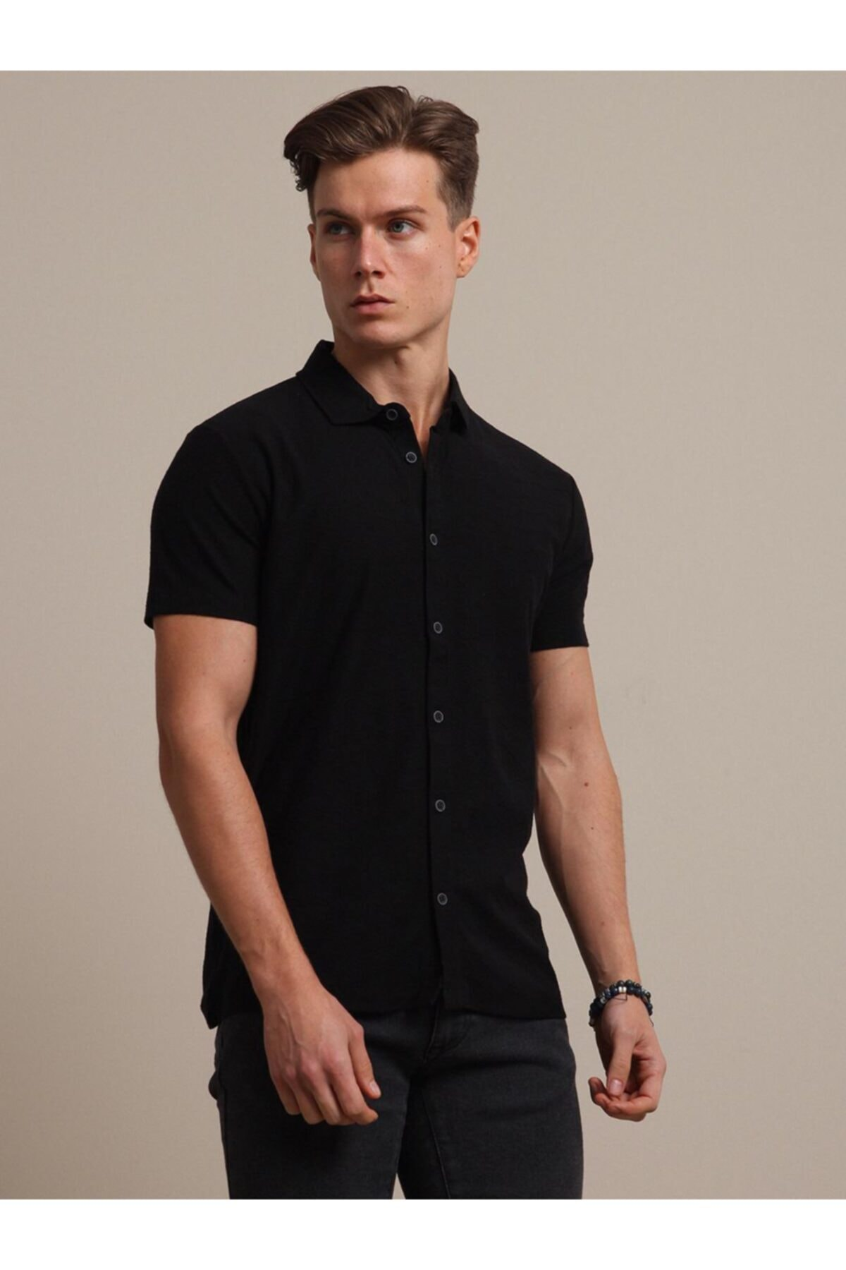 Jakarlı Örme T - Shirt