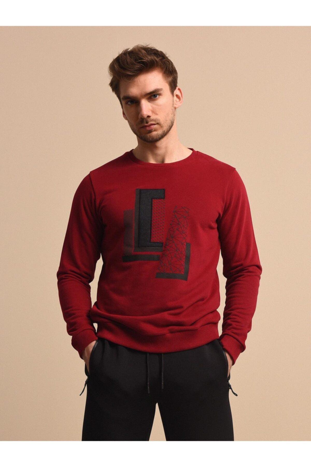 Erkek Bordo Baskılı Örme Sweatshirt