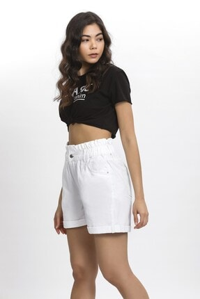 its basic Kadın Beyaz Kemeri Lastik Yüksek Bel Beyaz Renk Jean Şort 2