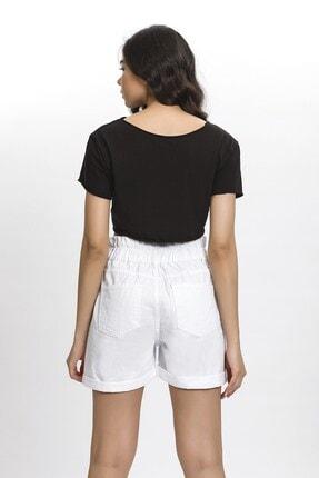 its basic Kadın Beyaz Kemeri Lastik Yüksek Bel Beyaz Renk Jean Şort 3