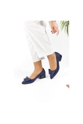 FORS SHOES Lacivert Lüx Süet Fiyonklu Klasik Kadın Ayakkabı Kısa Topuk 2