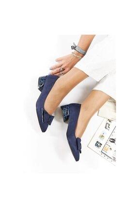 FORS SHOES Lacivert Lüx Süet Fiyonklu Klasik Kadın Ayakkabı Kısa Topuk 4