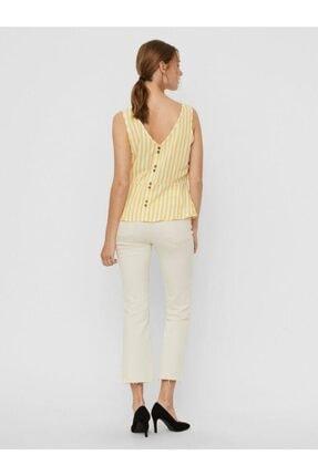 Vero Moda Kadın Sarı Düğme Detaylı Çizgili Keten Karışımlı Kolsuz Bluz 10226439 VMHELENMILO 1
