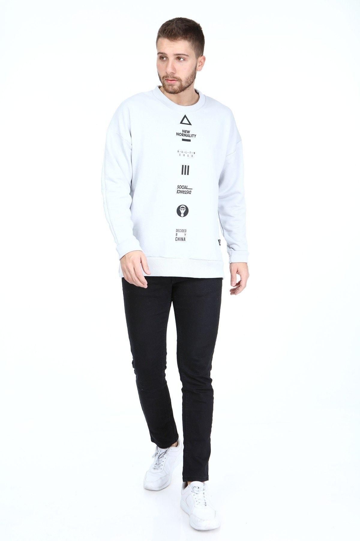 Millionaire Erkek Gri Yırtmaçlı Telefon Arkası Baskılı Oversize Sweatshirt