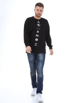Millionaire Erkek Siyah Yırtmaçlı Telefon Arkası Baskılı Oversize Sweatshirt 3