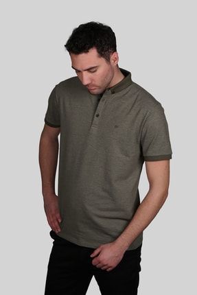İgs Erkek Haki Slim Fit Polo Yaka T-shirt 0