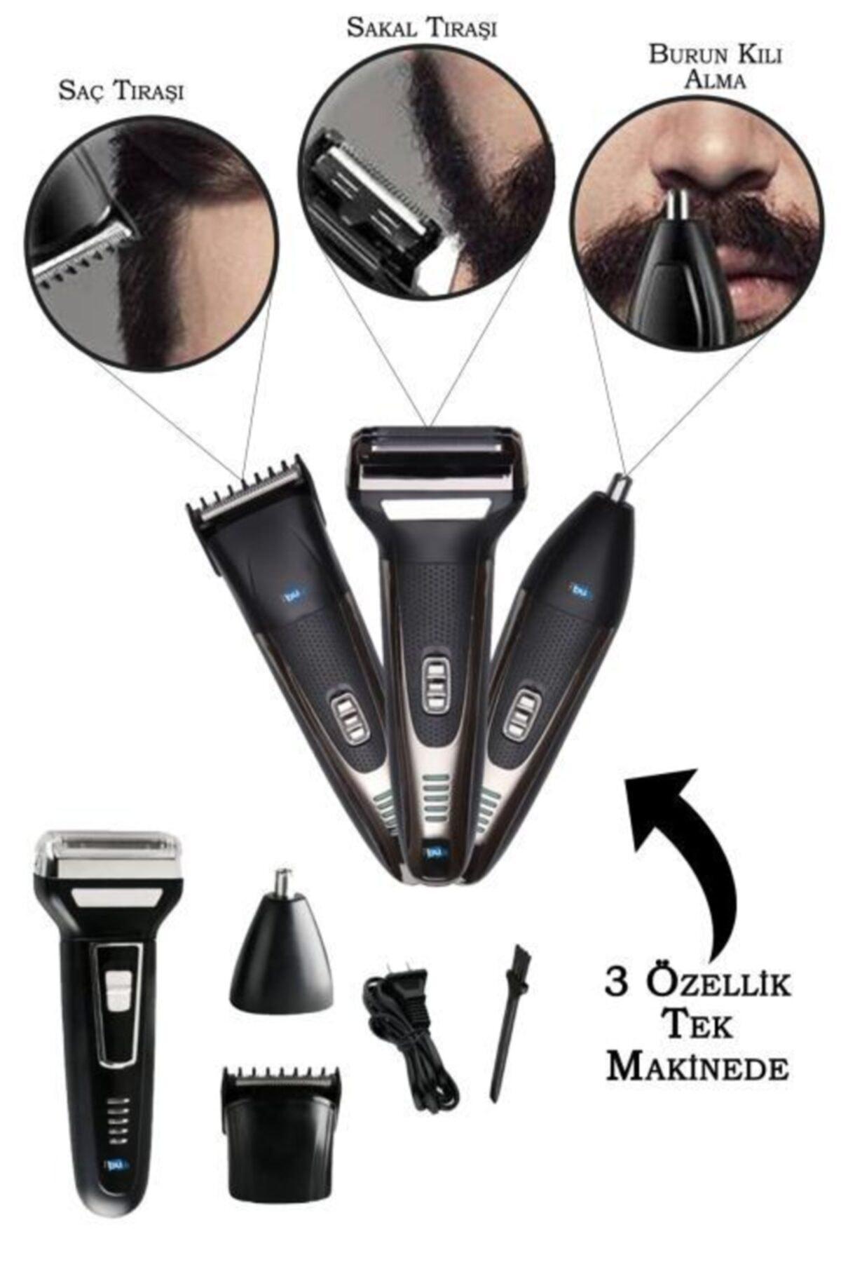 Siyah Erkek Bakım Seti 3in1 Fronex Model Tıraş Makinesi
