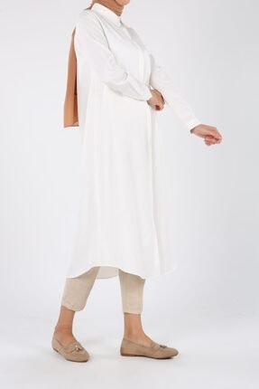 ALLDAY Kadın Ekru Pamuklu Uzun Gömlek 2