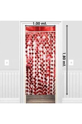 Süsle Baby Party Metalize Kalpli Kapı ve Fon Perdesi, 1 x 1,8 mt - Kırmızı 1