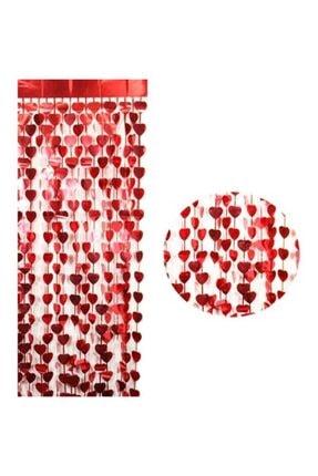 Süsle Baby Party Metalize Kalpli Kapı ve Fon Perdesi, 1 x 1,8 mt - Kırmızı 2